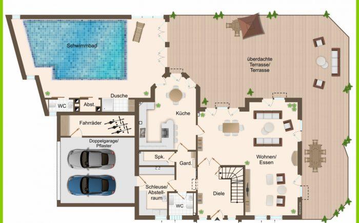 Grundriss Erdgeschoss mit Pool