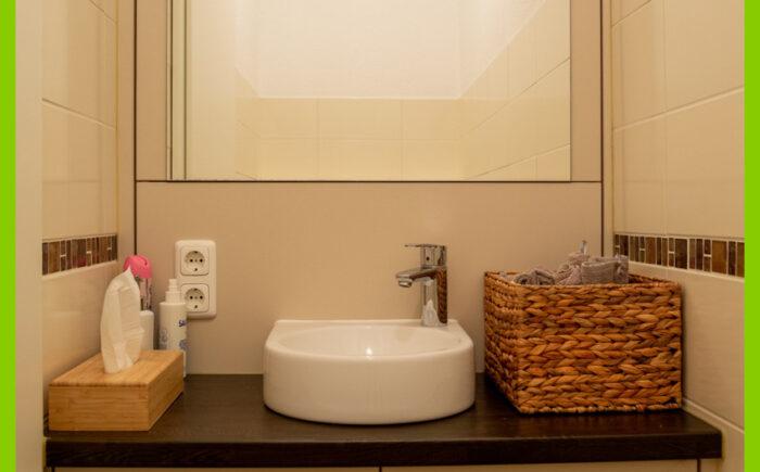 Das hochwertige Waschbecken im WC-Bereich.