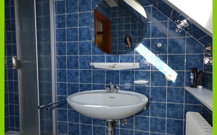Die Dusche im Obergeschoss.
